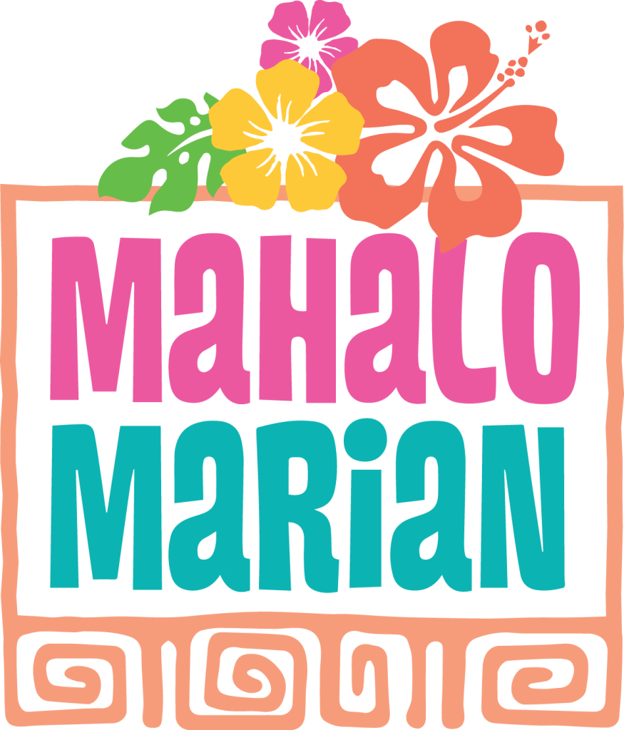 Mahalo Marian Logo with tropical flowers